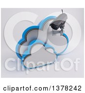 3d HD CCTV Security Surveillance Camera Mounted On Cloud Icon On Off White