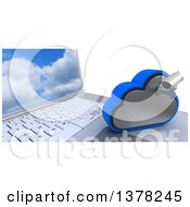 3d HD CCTV Security Surveillance Camera Mounted On Cloud Icon Resting On A Laptop Computer On White