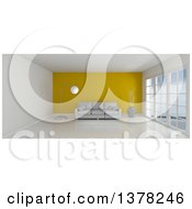 3d White Room Interior With Floor To Ceiling Windows A Yellow Feature Wall And Furniture