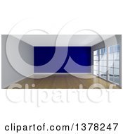 Clipart Of A 3d Empty Room Interior With Floor To Ceiling Windows Wooden Flooring And A Purple Feature Wall Royalty Free Illustration