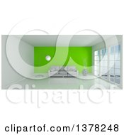 3d White Room Interior With Floor To Ceiling Windows A Green Feature Wall And Furniture