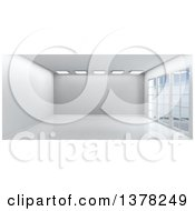 3d White Empty Room Interior With Floor To Ceiling Windows