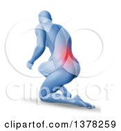 Clipart Of A 3d Blue Anatomical Man Kneeling On The Floor With Glowing Red Back Pain On Shaded White Royalty Free Illustration by KJ Pargeter
