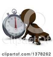 Clipart Of A 3d Brown Man Runner On Starting Blocks By A Giant Stop Watch On A White Background Royalty Free Illustration by KJ Pargeter