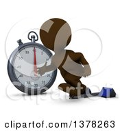 Clipart Of A 3d Brown Man Runner Taking Off On Starting Blocks By A Giant Stop Watch On A White Background Royalty Free Illustration by KJ Pargeter