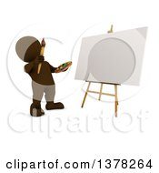 Poster, Art Print Of 3d Brown Man Painting A Canvas On A White Background