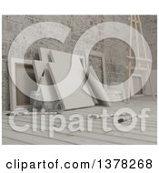 Clipart Of 3d Blank Art Canvases Paintbrushes And An Easel On Wood Over Bricks Royalty Free Illustration