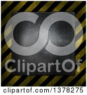 Clipart Of A Metal Plaque Over Grungy Hazard Stripes Royalty Free Illustration by KJ Pargeter
