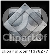 Clipart Of Layered Metal Plates With Nuts Over Black Royalty Free Illustration