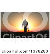 Clipart Of A 3d Silhouetted Soldier Walking Away With His Head Down Rifle In Hand Against A Sunset Royalty Free Illustration