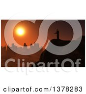 Clipart Of A 3d Silhouetted Soldier On A Lookout Over A City At Sunset Royalty Free Illustration by KJ Pargeter