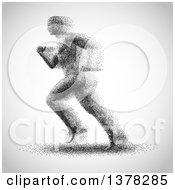 Clipart Of A Man Made Of Dots Running To The Left On A Gradient Gray Background Royalty Free Vector Illustration