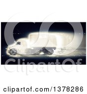 Clipart Of A 3d Fast Big Rig Truck On Black Royalty Free Illustration