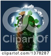 Clipart Of A 3d Roadway With Big Rig Trucks Transporting Boxes Driving Around A Grassy Planet Zooming Through Blue Sky Royalty Free Illustration