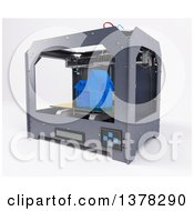 Clipart Of A 3d Printer Creating A Home On A White Background Royalty Free Illustration