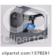 Clipart Of A 3d Printer Printing A Car On A White Background Royalty Free Illustration