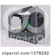 Clipart Of A 3d Printer Printing A Model Of Planet Earth On A White Background Royalty Free Illustration