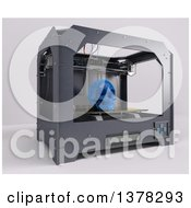 Clipart Of A 3d Printer Printing A Human Skull On A White Background Royalty Free Illustration