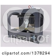 Clipart Of A 3d Printer Printing A Human Hand On A White Background Royalty Free Illustration