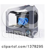 Clipart Of A 3d Printer Printing An Abstract Shape On A White Background Royalty Free Illustration