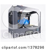 Clipart Of A 3d Printer Printing A Tea Pot On A White Background Royalty Free Illustration by KJ Pargeter