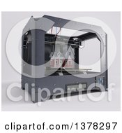 Clipart Of A 3d Printer Printing A Home On A White Background Royalty Free Illustration by KJ Pargeter
