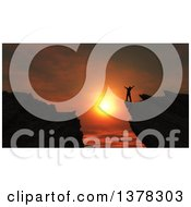 Clipart Of A Silhouetted Man Cheering On Top Of A 3d Mountain At Sunset Royalty Free Illustration by KJ Pargeter