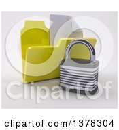3d Yellow File Folder With Documents And Padlock On Shaded White
