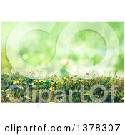 Clipart Of A Background Of 3d Buttercup Flowers And Grass Against Green Bokeh Royalty Free Illustration