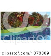 Clipart Of A Row Of Colorful Autumn Trees Over A Still River Royalty Free Illustration by KJ Pargeter