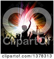 Clipart Of A Crowded Dance Floor With Silhouetted People Over Colorful Lights And Tiles Royalty Free Vector Illustration