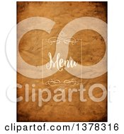 Clipart Of A Swirl Frame And Menu Text On Dark Crumpled Paper Royalty Free Vector Illustration by KJ Pargeter