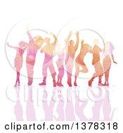 Clipart Of A Group Of Watercolor Painted People Dancing With A Reflection On White Royalty Free Vector Illustration