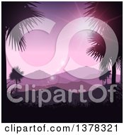 Clipart Of A Silhouetted Tropical Mountainous Landscape Framed With Palm Trees And A Purple Sunset Royalty Free Vector Illustration
