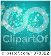 Clipart Of A Background Of Gold Stars And Bokeh Flares On Turquoise Royalty Free Vector Illustration