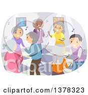 Clipart Of A Group Of Happy Senior Citizens Dancing Royalty Free Vector Illustration by BNP Design Studio