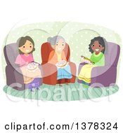 Clipart Of A Group Of Senior Women Sitting In Chair Sand Embroidering Together Royalty Free Vector Illustration by BNP Design Studio
