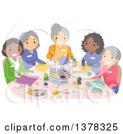 Clipart Of A Group Of Senior Women Sewing Together Royalty Free Vector Illustration