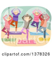 Clipart Of A Group Of Senior Citizens Doing Yoga In A Studio Royalty Free Vector Illustration