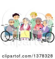 Clipart Of A Group Of Senior Men And Women In Wheelchairs With Care Givers Royalty Free Vector Illustration