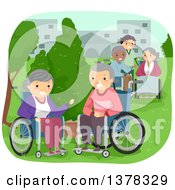 Clipart Of A Caregiver And Senior Citizens In Wheelchairs Enjoying A Park Royalty Free Vector Illustration