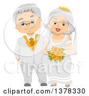 Clipart Of A Happy White Senior Wedding Couple Royalty Free Vector Illustration