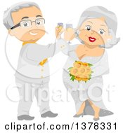 Clipart Of A Happy White Senior Wedding Couple Toasting With Champagne Royalty Free Vector Illustration