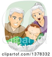 Clipart Of Happy White Senior Grandparents Looking At A Sleeping Baby Boy Royalty Free Vector Illustration