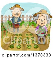Clipart Of A Happy White Senior Couple Working In Their Vegetable Garden Royalty Free Vector Illustration