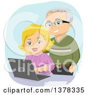 Clipart Of A Happy White Senior Couple Using A Laptop Computer Royalty Free Vector Illustration