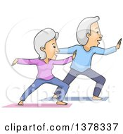 Clipart Of A Happy White Senior Couple Doing Taichi Royalty Free Vector Illustration by BNP Design Studio