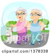 Clipart Of A Happy White Senior Couple Jogging With Their Dog Royalty Free Vector Illustration