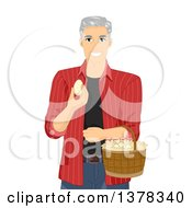 Clipart Of A Happy White Male Senior Citizen Collecting Eggs On His Farm Royalty Free Vector Illustration