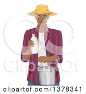 Handsome Black Senior Man Holding Fresh Milk In A Bottle And Pail